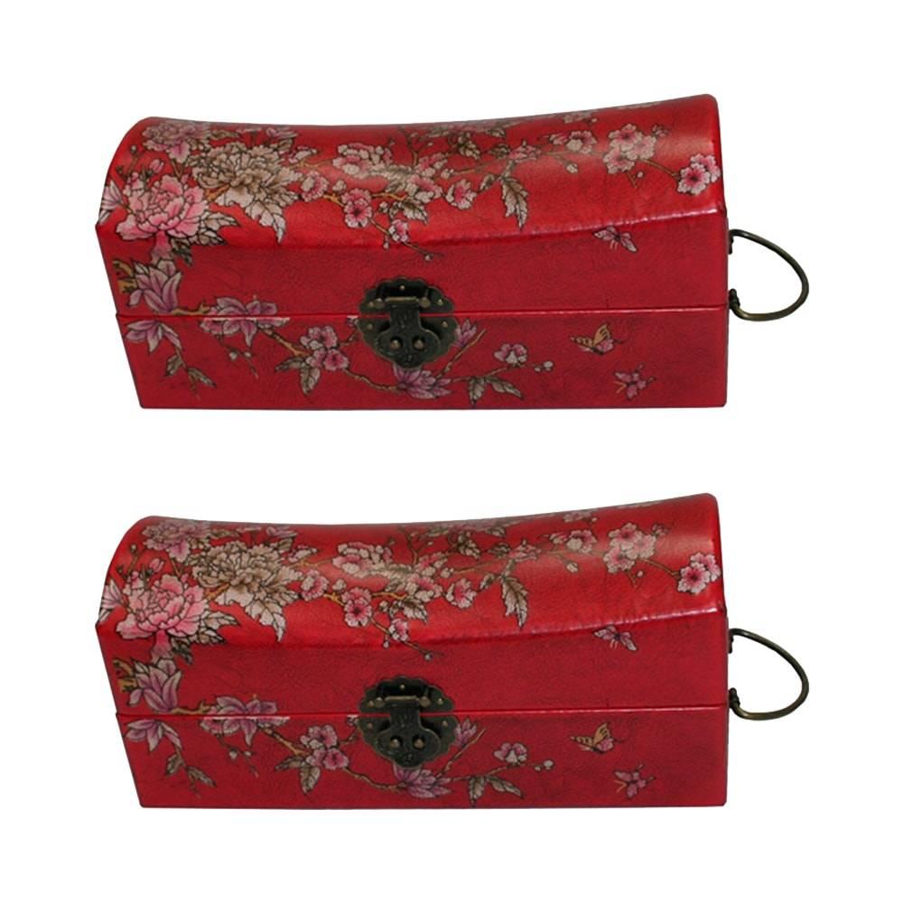 Porta-Joias Mil Flores - 2 Peças - Vermelho em Courinho - 15x15 cm