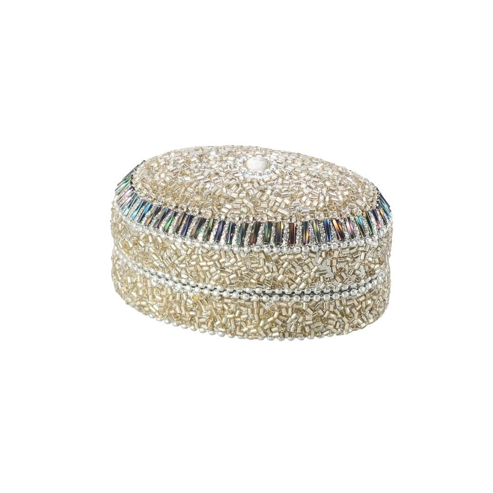 Porta-Joias Prateado Oval em Alumínio com Acabamento em Vidro - Lyor Classic - 7x6,3 cm