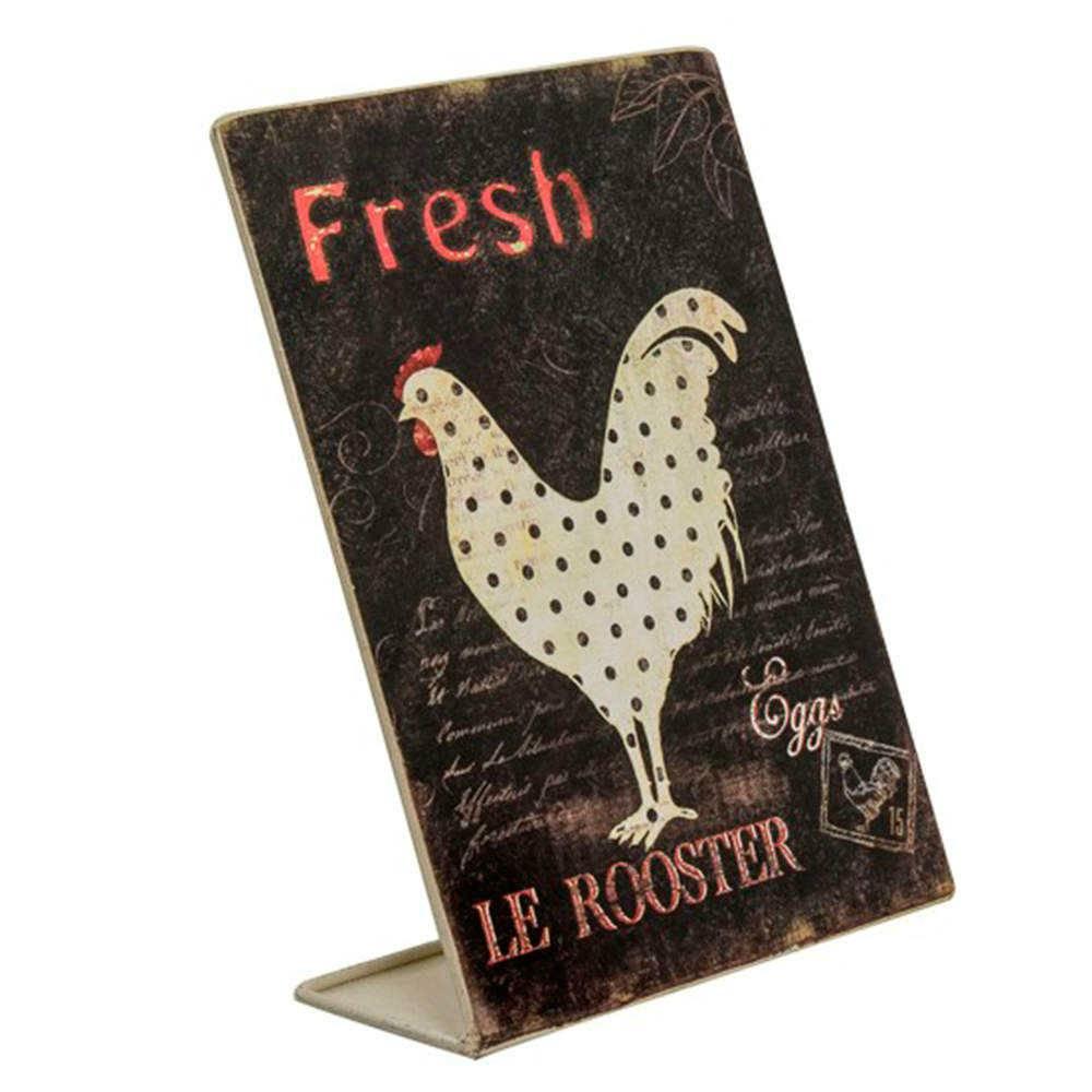 Porta-Recados Le Rooster em Metal de Aspecto Envelhecido - 20x18 cm