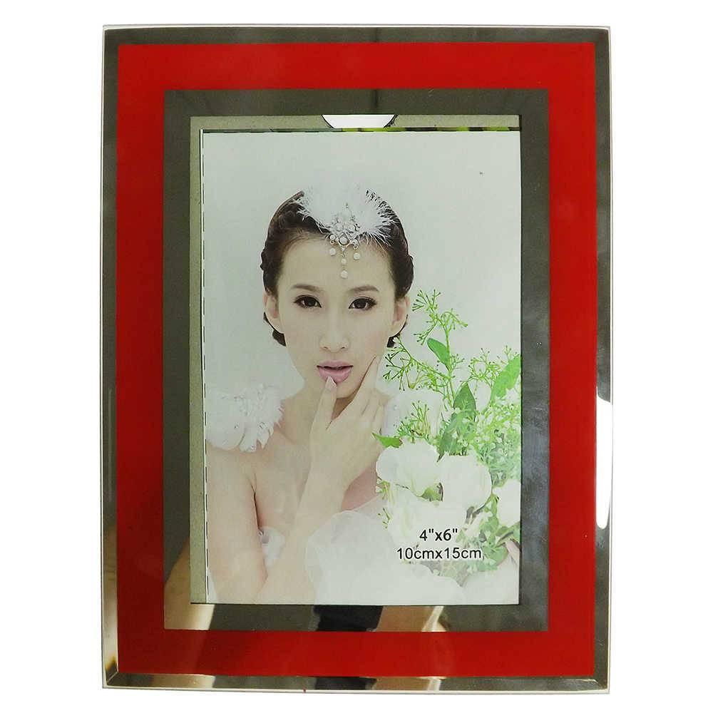 Porta-Retrato 10x15 cm Listra Vermelha em Vidro - 20,5x15,5 cm