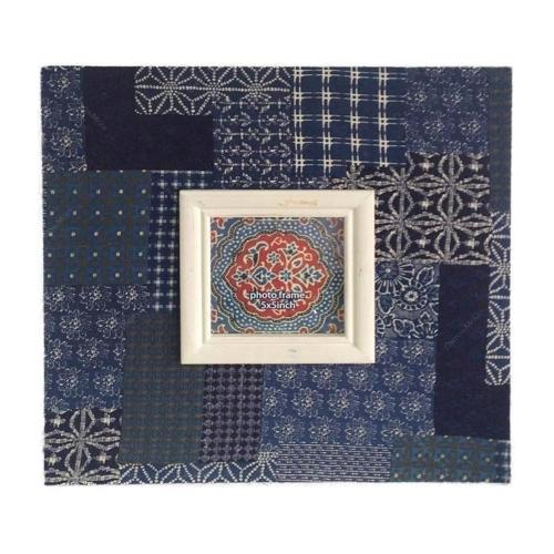 Porta-Retrato Azul Estampado em Madeira - 40x40 cm