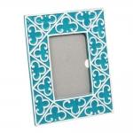 Porta-Retrato Azul/Turquesa Geométrico em Cerâmica - 25x20 cm