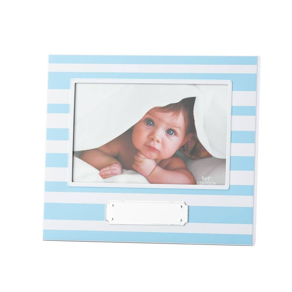 Porta-Retrato Baby Boy Listras em Alumínio para Foto 10x15 cm - Lyor Classic - 21x18 cm