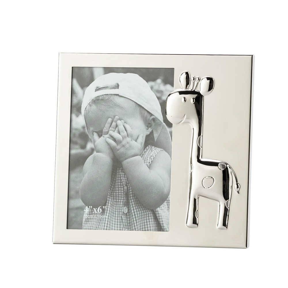 Porta-Retrato Baby Girafe Prata 10x15 cm em Metal - Lyor Classic
