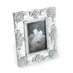 Porta-Retrato Barroco Pérolas Prata em Resina Pintada