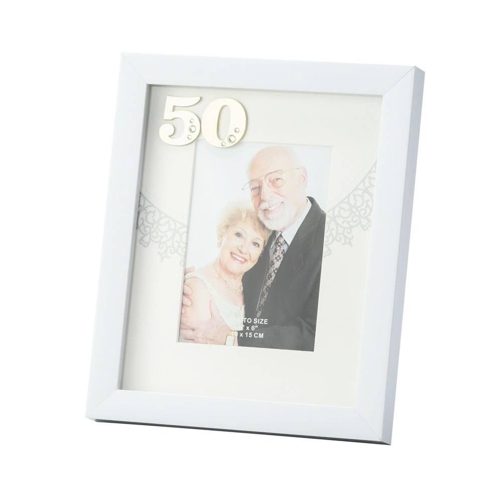 Porta-Retrato Bodas de Ouro Branco para Foto 10x15 cm - Lyor Classic - 28x21 cm