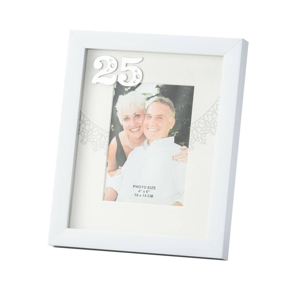 Porta-Retrato Bodas de Prata Branco para Foto 10x15 cm - Lyor Classic - 28x21 cm