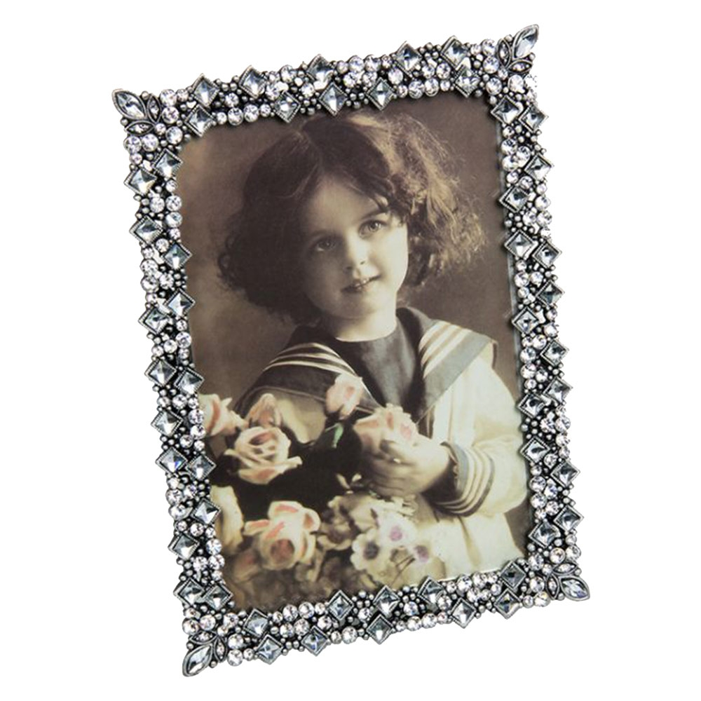 Porta-Retrato Borgonha Prata - Foto 10x15 cm - em Metal - 18x13 cm