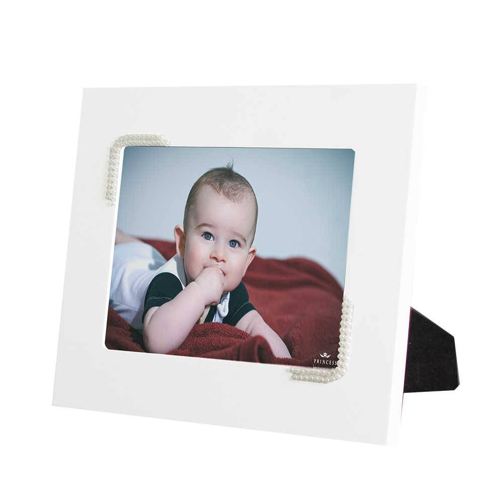 Porta-Retrato Branco - 15x21 cm - em MDF com Pérolas - 29x23 cm