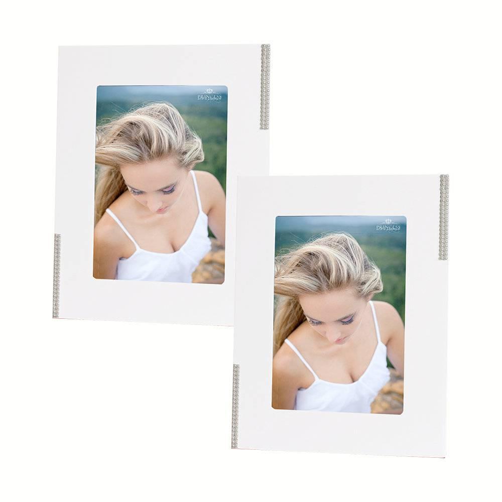 Conjunto 2 Porta-Retratos Brancos com Pérolas Laterais - 15x21 cm - em MDF - 29x23