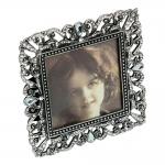 Porta-Retrato Brilliant Prata Pequeno em Metal - 11x11 cm