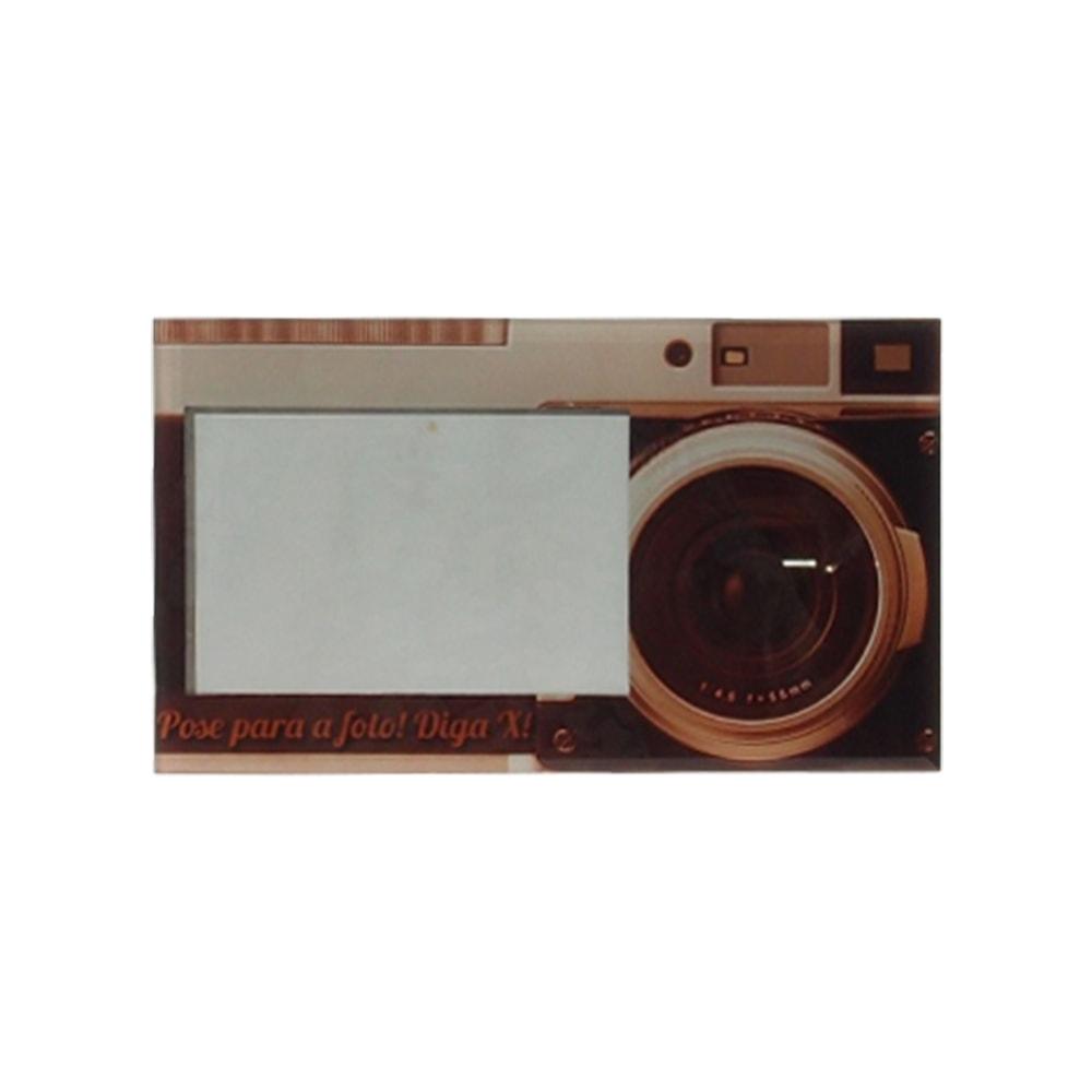Porta-Retrato Câmera Fotográfica Sépia em Vidro - 25x15 cm