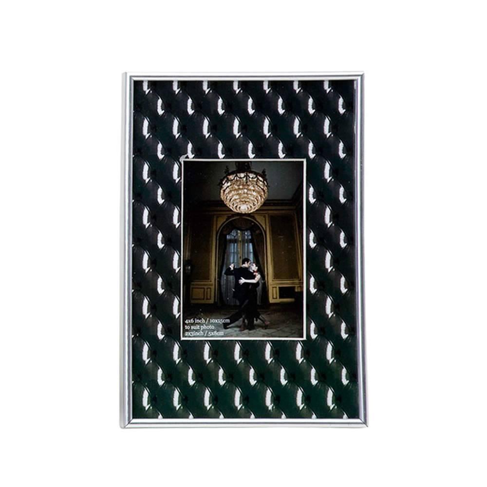 Porta-Retrato Capitonê Preto 8x5 cm em PVC - Urban - 15x10 cm