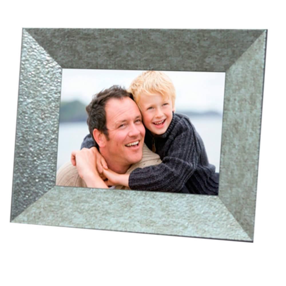 Porta-Retrato Chanfrado Prata - 15x21 - em Madeira - 25x19,5 cm
