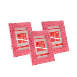 103de42daff6d Porta-Retrato Delicate Rosa em Relevo - 3 Peças - 21x16 cm