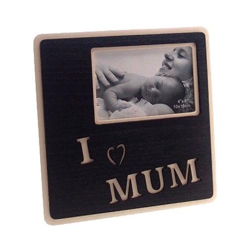 Porta-Retrato Eu Amo a Mamãe Preto em Madeira - 19x18 cm