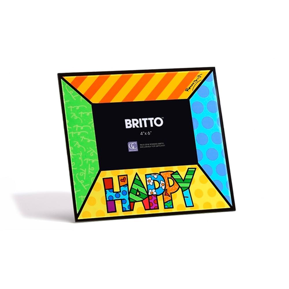 Porta-Retrato Felicidade - Romero Britto - em Vidro - 24x22 cm
