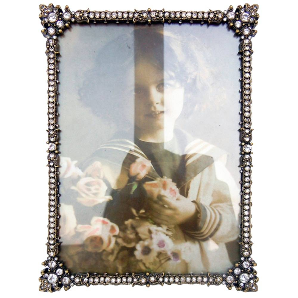 Porta-retrato Fino Dourado Envelhecido em Metal - 20x15 cm