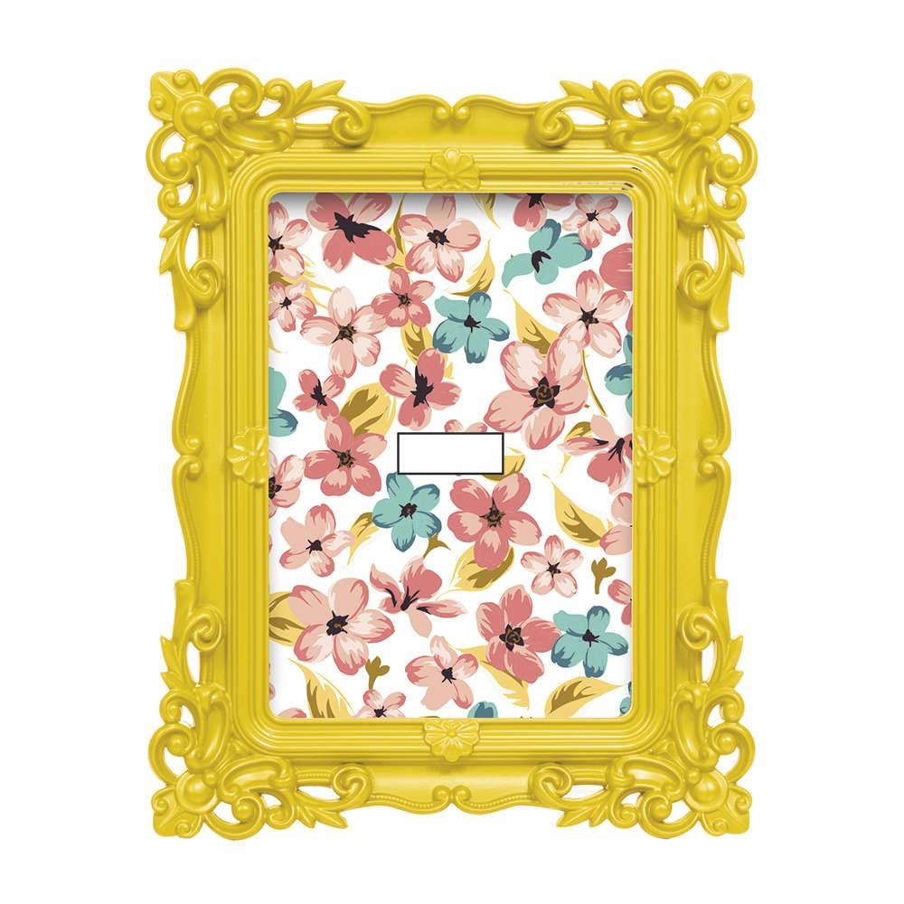 Porta-Retrato Flower 10x15 cm Amarelo - 21,5x16,5 cm