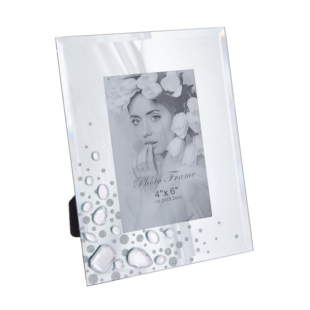 Porta-Retrato Gems - Foto 10x15 cm - Transparente em Resina Pintada - 22x17 cm