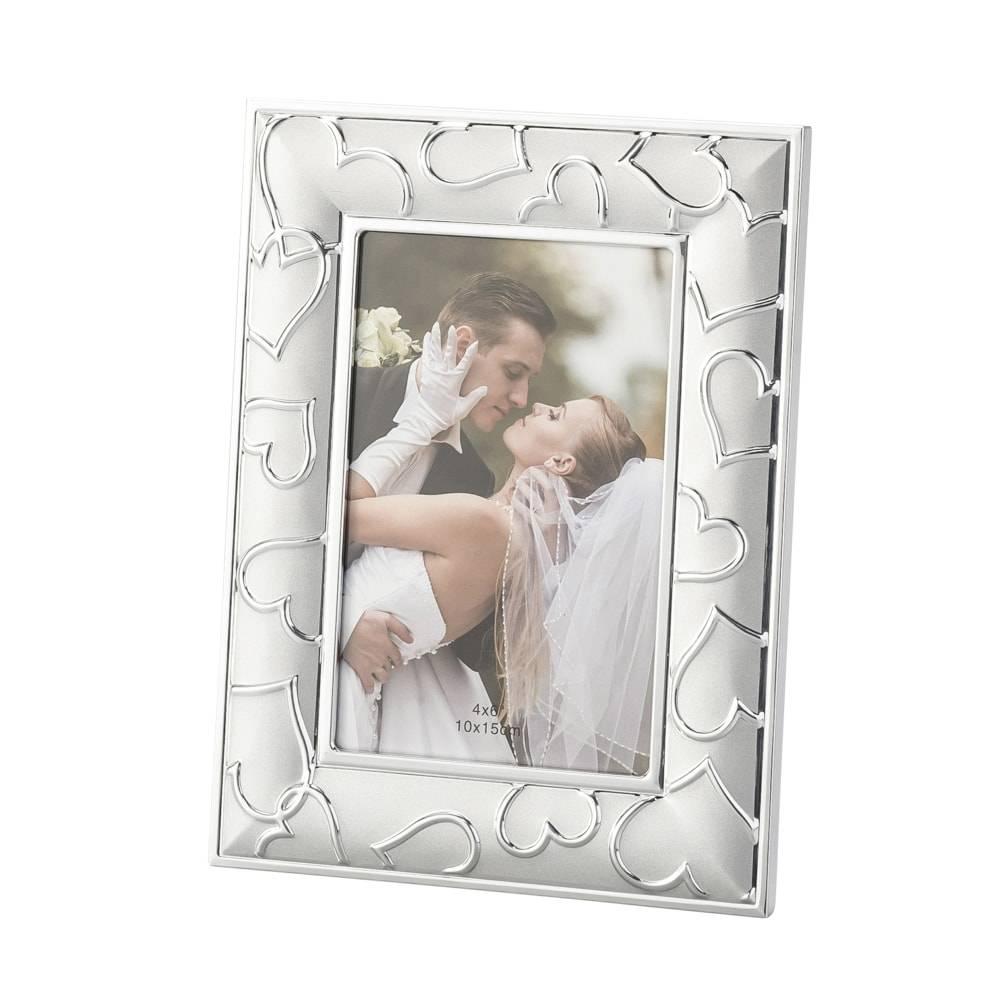 Porta-Retrato Heart em Alumínio para Foto 10x15 cm - Lyor Classic - 22x17 cm
