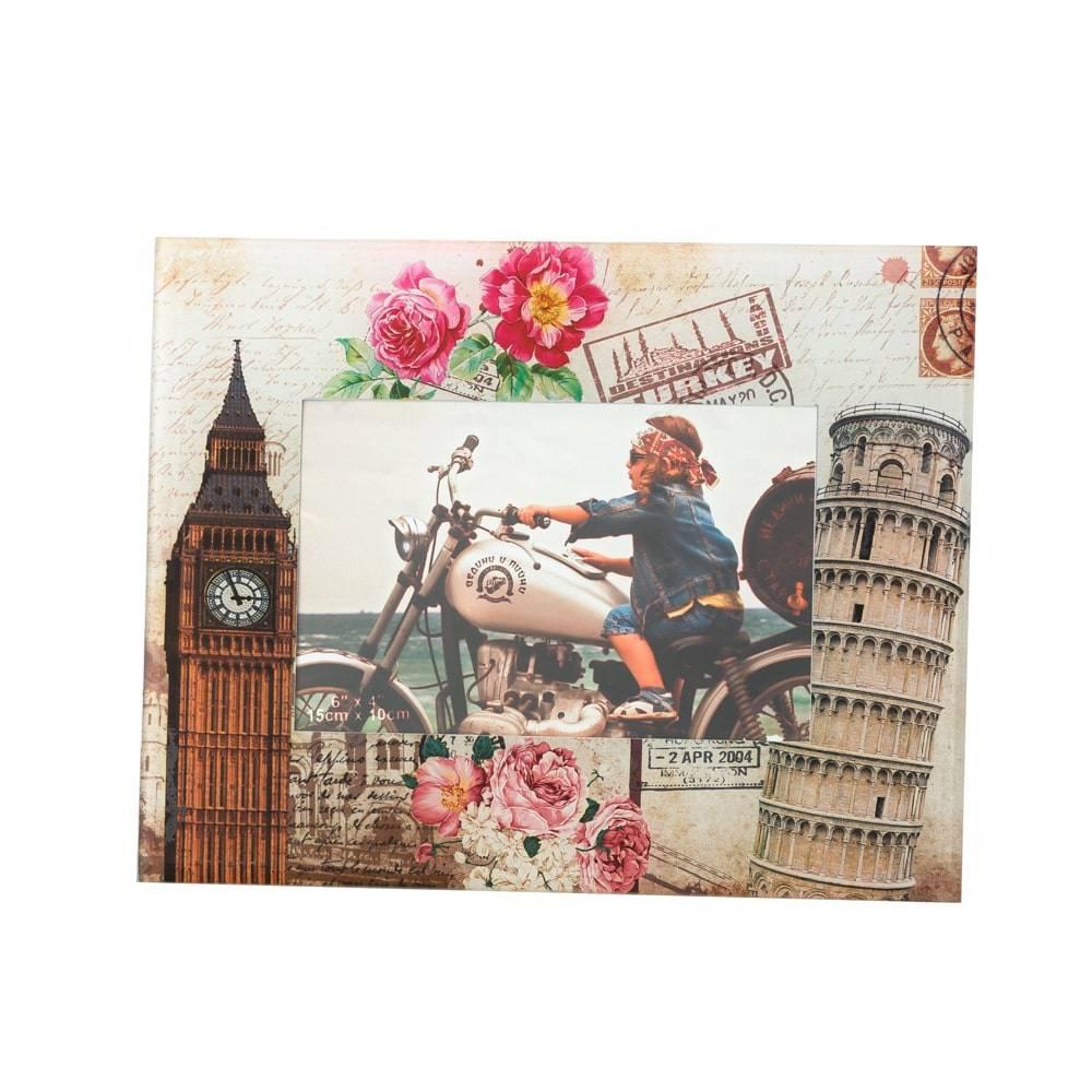 Porta-Retrato London e Pisa em Vidro para Foto 10x15 cm - Lyor Classic - 23x18 cm