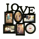 Porta-Retrato Love - 6 Fotos - Preto - 47x46 cm