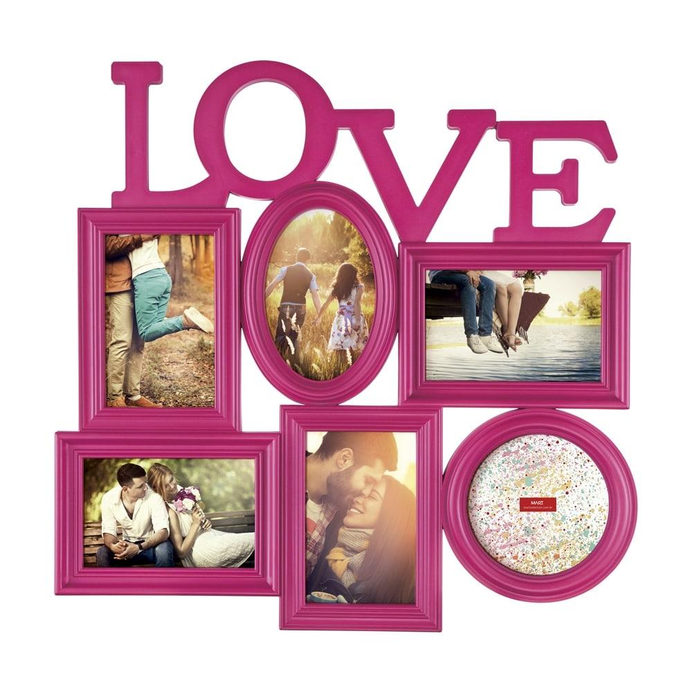 Porta-Retrato Love - 6 Fotos - Rosa - 47x46 cm