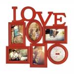Porta-Retrato Love - 6 Fotos - Vermelho - 47x46 cm