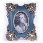 Porta-Retrato Luxo Azul e Prata Envelhecido em Resina - 27x22 cm