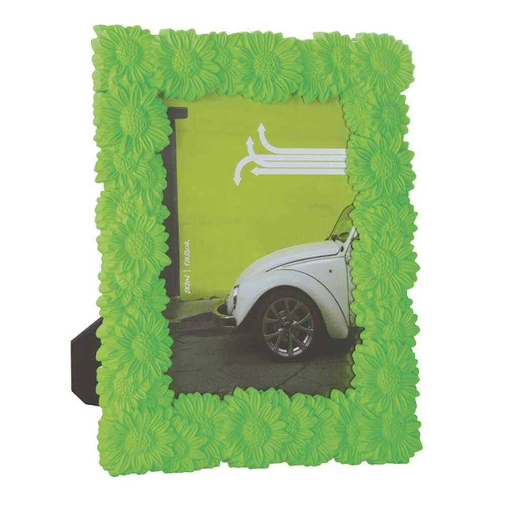 Porta-Retrato Margaridas Verdes em Polipropileno - Urban - 24,5x19,5 cm