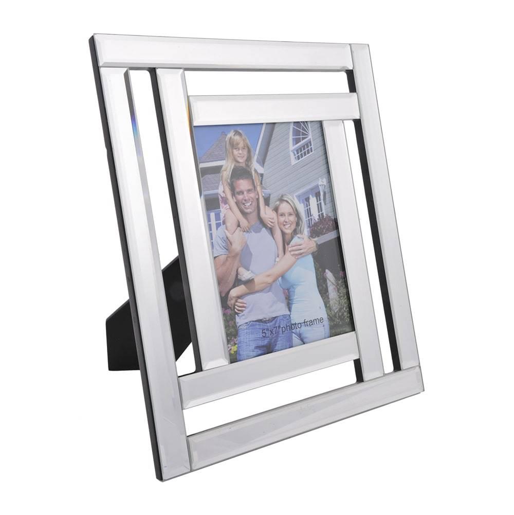 Porta-Retrato de Mesa Surface Prata - Foto 13x18 cm - em Vidro - 29x24 cm