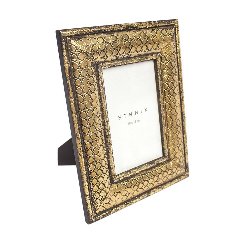 Porta-Retrato de Mesa Swift Dourado - Foto 10x15 cm - em Madeira e Ferro - 25x20 cm