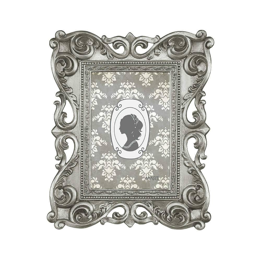 Porta-Retrato Moldura de Arabescos Prata - Foto 10x15 cm - Em Poliresina - 23,5x18,5 cm