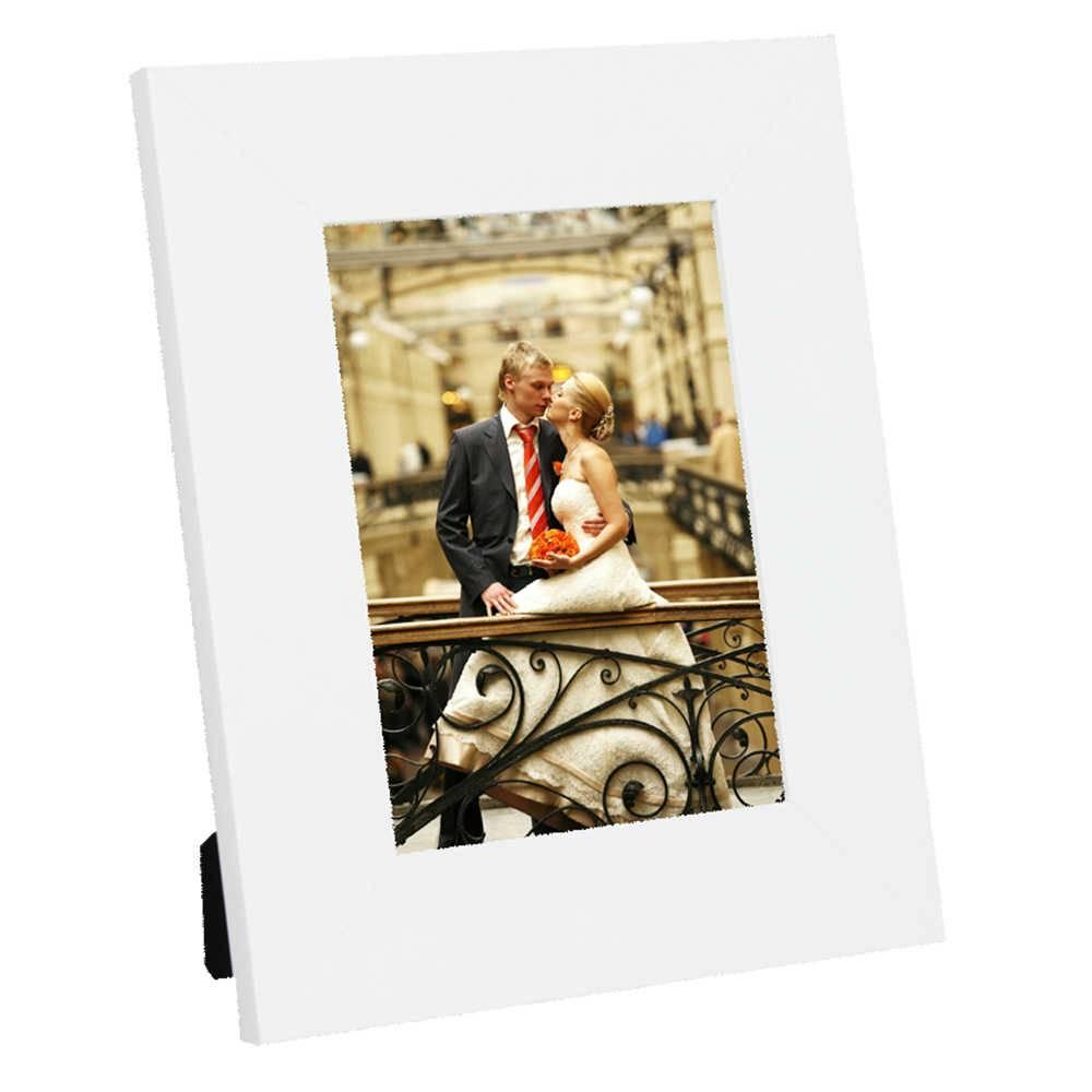 Porta-Retrato Moldura Reta Lisa Branca - Foto 20x30 cm - Em MDF e Vidro - 34x24 cm