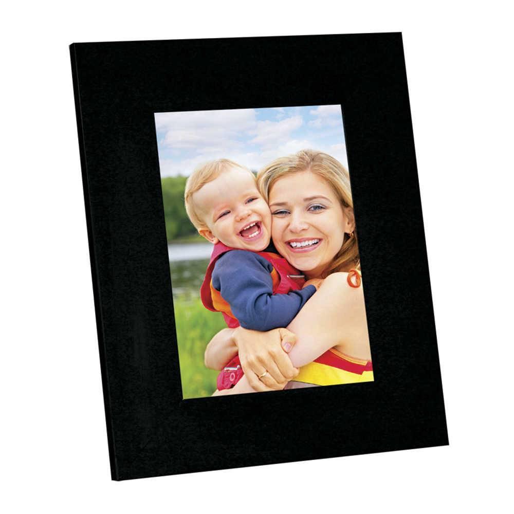 Porta-Retrato Moldura Reta Lisa Preta - Foto 20x30 cm - Em MDF e Vidro - 34x24 cm