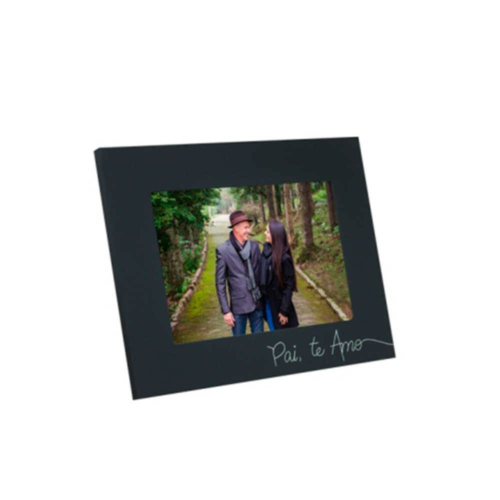 Porta-Retrato Pai Te Amo Preto - Foto 15x21 cm - Em MDF e Vidro - 23x17 cm