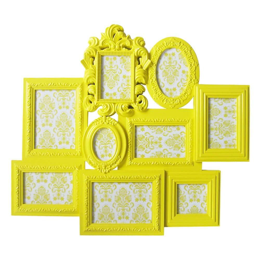 Porta-Retrato de Parede Barroque Frame Amarelo em Polipropileno - Urban - 66x58 cm