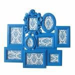 Porta-Retrato de Parede Barroque Frame Azul em Polipropileno - Urban - 66x58 cm