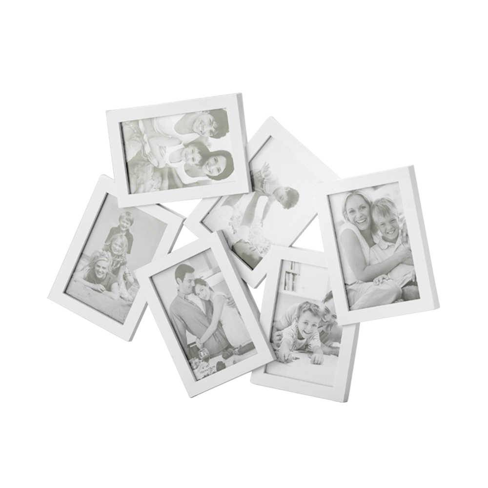 Porta-Retrato de Parede Moderno Branco para 6 Fotos - Lyor Classic - 47x38 cm