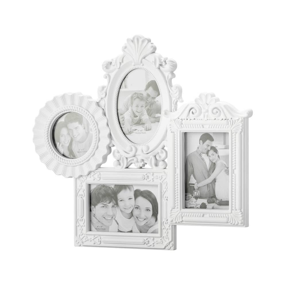 Porta-Retrato de Parede Retrô Branco para 4 Fotos - Lyor Classic - 44x41 cm