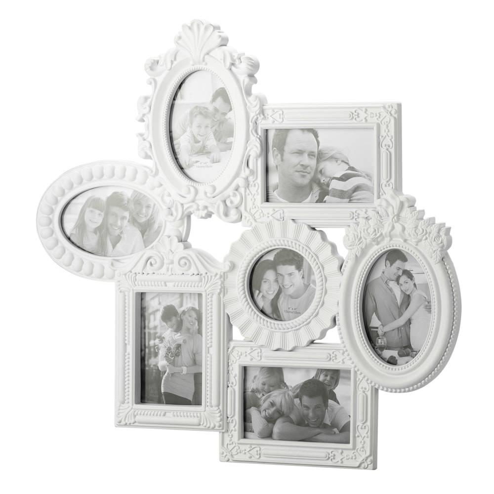 Porta-Retrato de Parede Retrô Branco para 7 Fotos - Lyor Classic - 57x56 cm