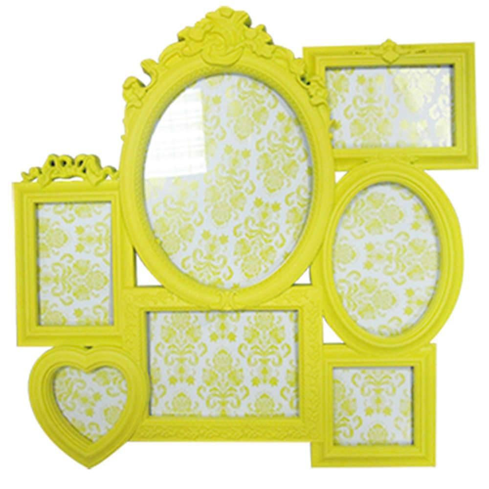 Porta-Retrato de Parede Romantic Frame Amarelo em Polipropileno - Urban - 52x52 cm