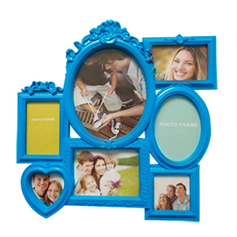 Porta-Retrato de Parede Romantic Frame Azul em Polipropileno - Urban - 52x52 cm