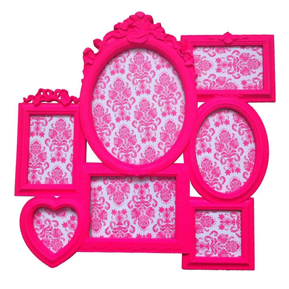 Porta-Retrato de Parede Romantic Frame Rosa em Polipropileno - Urban - 52x52 cm