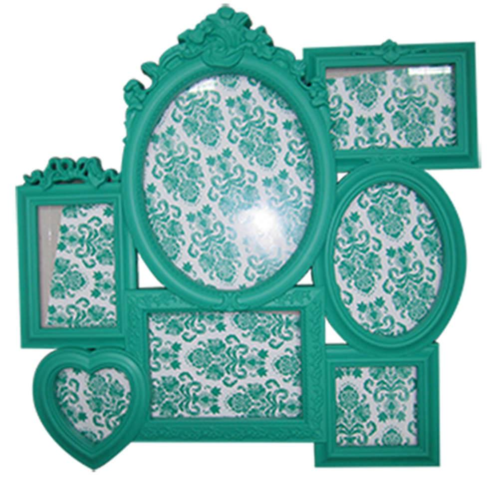 Porta-Retrato de Parede Romantic Frames Green em Polipropileno - Urban - 52x52 cm