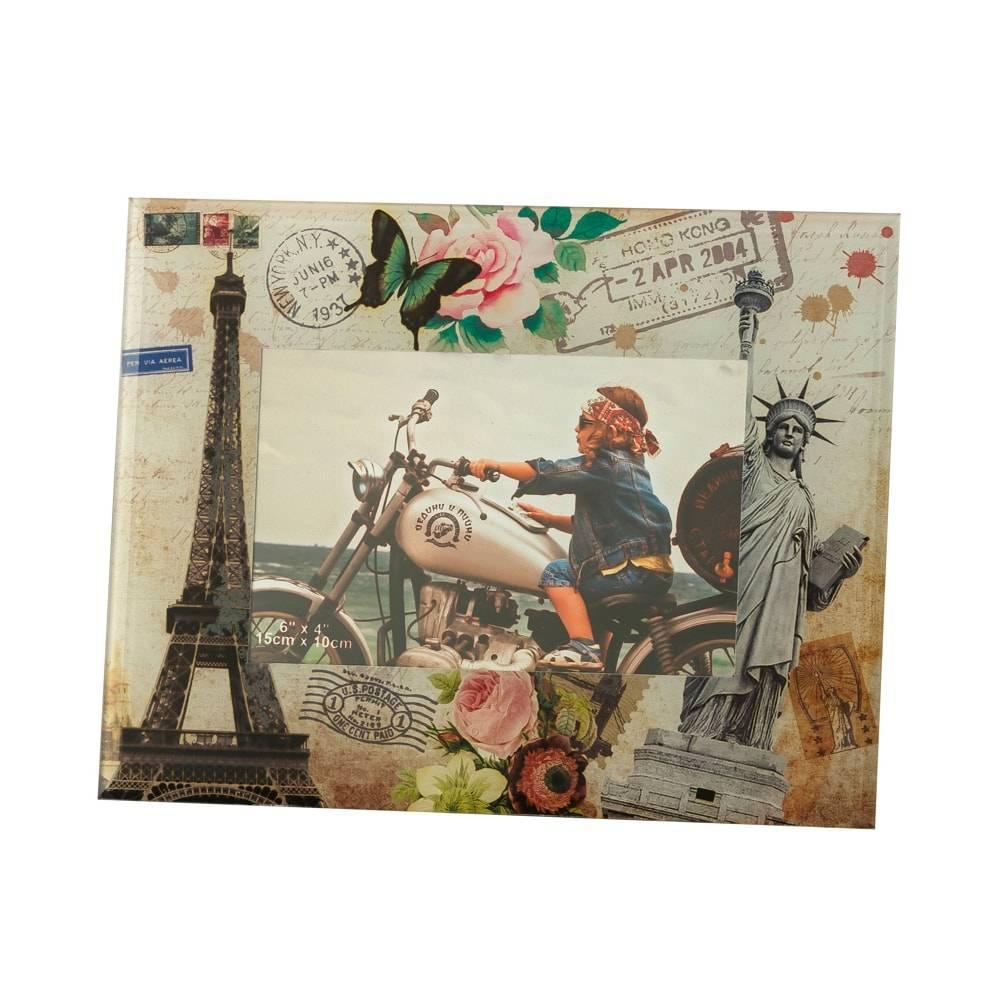 Porta-Retrato Paris e New York em Vidro para Foto 10x15 cm - Lyor Classic - 23x18 cm