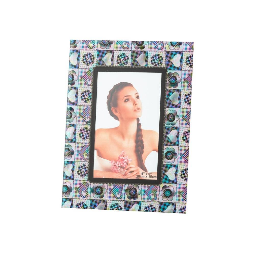 Porta-Retrato Patchwork em Vidro para Foto 10x15 cm - Lyor Classic - 20x17 cm