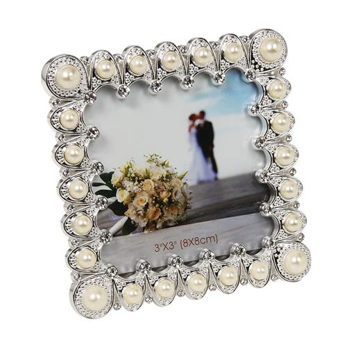 Porta-Retrato Pérolas Mini Square Branco e Prata em Metal - 9x9 cm