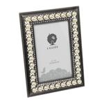 Porta-Retrato Pérolas Retangular Branco e Prata em Metal